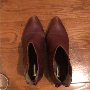Brownish red ankle boots